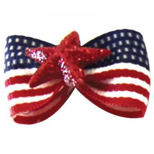 American Flag Dog Bow