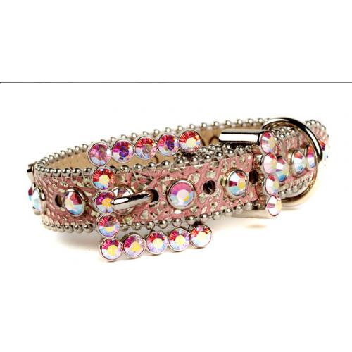 BB Simon Pink Sparkle Swarovski Leather Collar