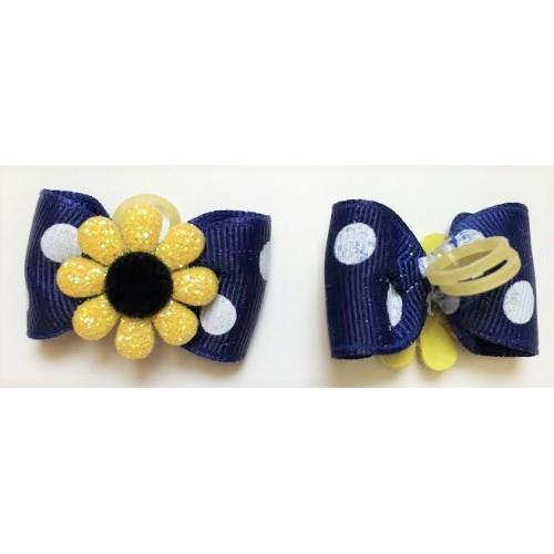 Blue Daisy Bow