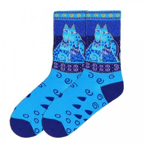 Laurel Burch Blue Felines Socks