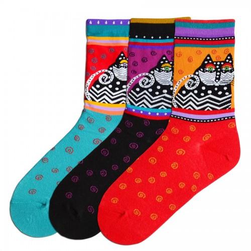 Laurel Burch Polka Dot Cat Socks