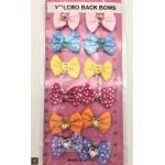 12 Pack Velcro Polka Heart Bows